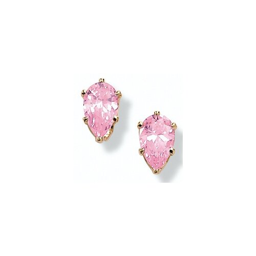 14K Gold Plated Pink Cubic Zirconia Earrings