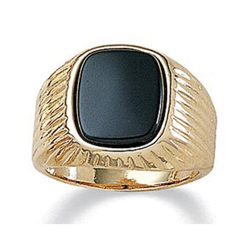 Palm Beach Jewelry Men's 14K Gold Plated Emerald Onyx Ring