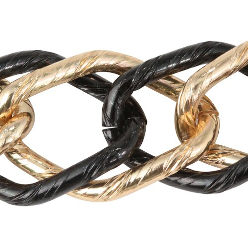 Palm Beach Jewelry Black and Goldtone Curb Link Necklace