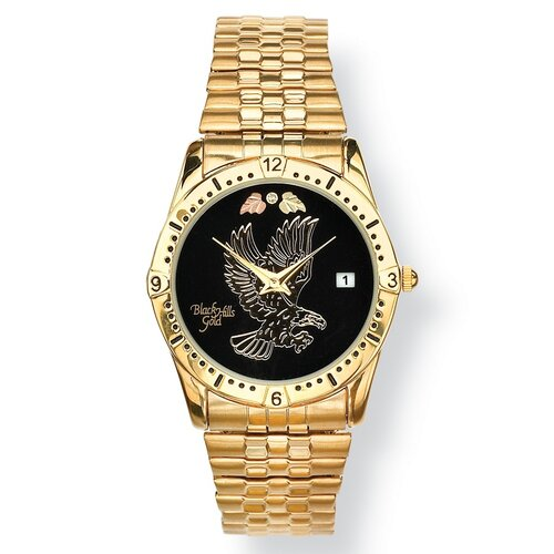 Palm Beach Jewelry Men's Black Hills Gold Eagle Watch