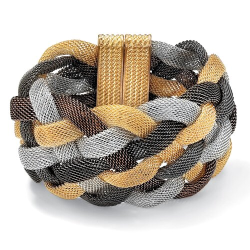 Palm Beach Jewelry Tritone Braided Mesh Bracelet