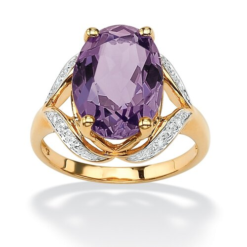 Palm Beach Jewelry Amethyst and Diamond Accent Ring
