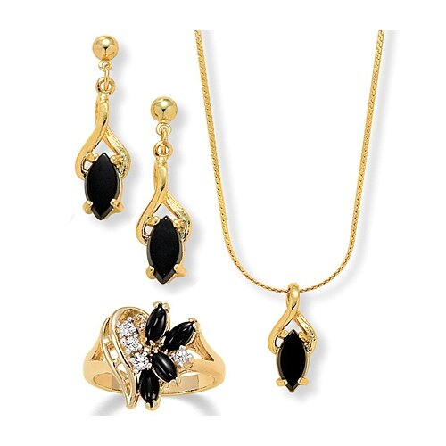 14k Gold Marquise Cut Onyx Jewelry Set