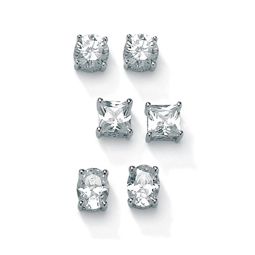 Palm Beach Jewelry 3 Pairs of Cubic Zirconia Stud Earrings