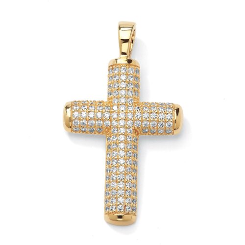 Palm Beach Jewelry 14k Yellow Gold Round Cut Cubic Zirconia Cross Pendant