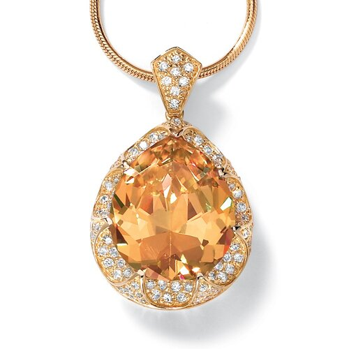 Palm Beach Jewelry 14k Yellow Gold Pear Cut Cubic Zirconia Pendant