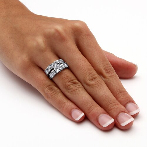Palm Beach Jewelry Emerald Cut Cubic Zirconia Bridal Ring Set