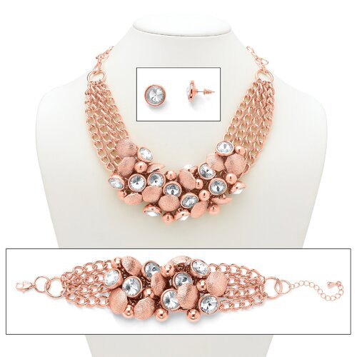 Palm Beach Jewelry Rose Gold Rhinestone Statement Jewelry Set