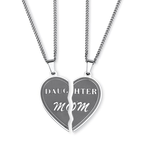 Stainless Steel Daughter/Mom Pendants With Chains