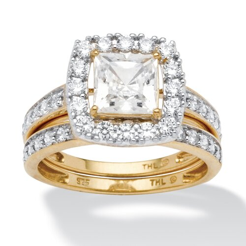 18k Gold Over Silver Princess Cut Cubic Zirconia Wedding Ring Set