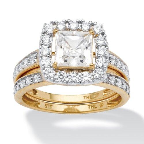 18k Gold Over Silver Princess Cut Cubic Zirconia Wedding Ring Set
