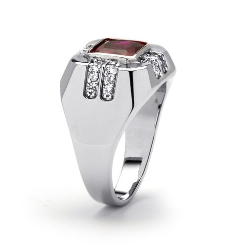 Palm Beach Jewelry Men's Platinum-Plated Cushion Cut Red Cubic Zirconia Ring