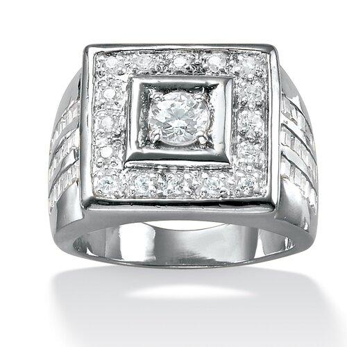 Men's Platinum-Plated Square Cut Cubic Zirconia Ring