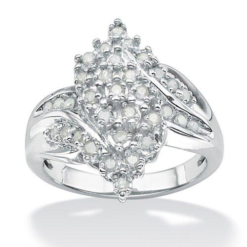 Platinum Over Silver Ice Diamond Cluster Swirl Ring
