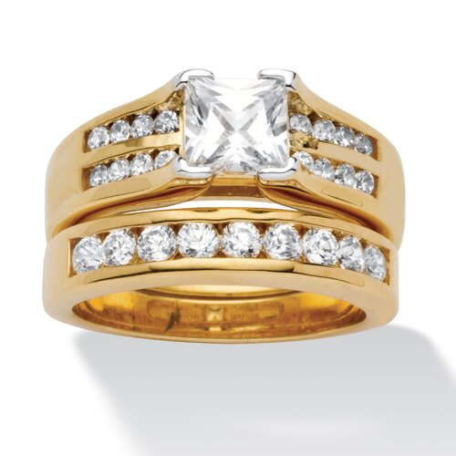 18k Gold-Plated Princess Cut Cubic Zirconia Wedding Ring Set