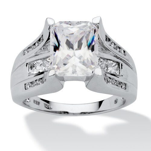 Platinum Over Silver Emerald Cut Cubic Zirconia Ring