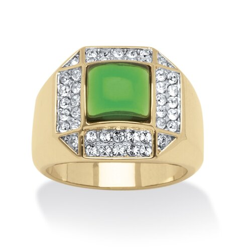 Men's 14k Gold-Plated Square Cut Green Crystal Ring