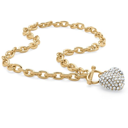 Palm Beach Jewelry Goldtone Birthstone Crystal Heart Necklace