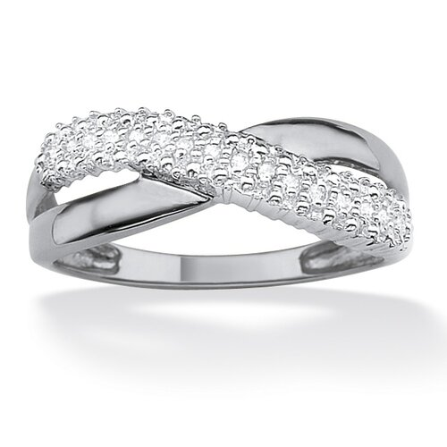 10k Gold White Diamond Accent Crossover Ring