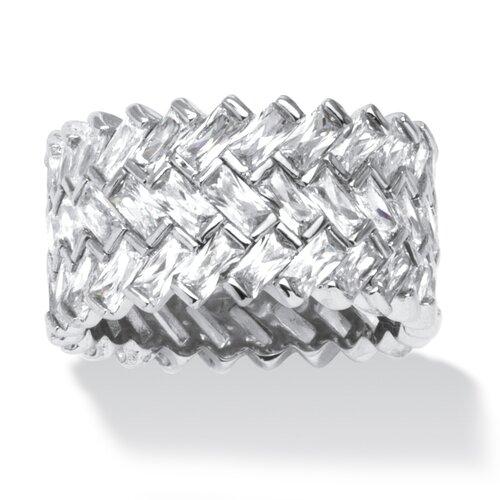 Platinum Over Silver Cubic Zirconia Chevron Ring