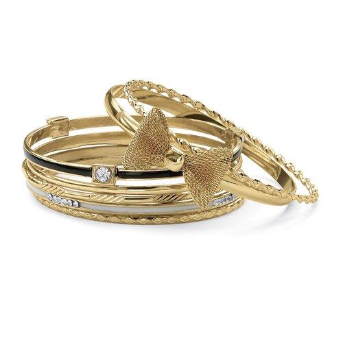 Enamel Gold Tone 6 Bangle Bracelet