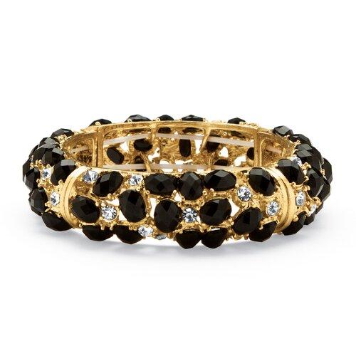 Palm Beach Jewelry Black Cabochon and Crystal Bracelet
