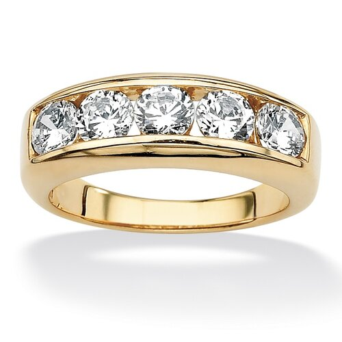 Men's 18k Gold Over Silver Round Cut Cubic Zirconia Ring
