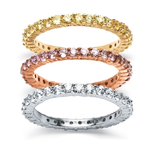18k Gold-Plated Tri-Tone Eternity Rings