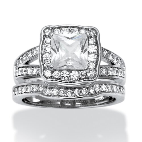 Platinum Over Silver Princess Cut Cubic Zirconia Ring Set