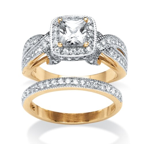 2 Piece 18k Gold Over Silver Princess Cut Cubic Zirconia Ring Set