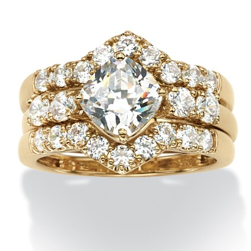 18k Gold Over Silver Princess Cut Cubic Zirconia Ring Set