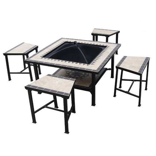 Deeco Serengeti Sunrise 5 Piece Dining Set with Firepit