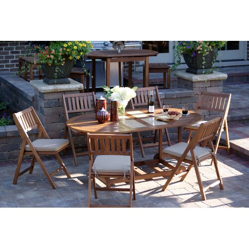 7 Piece Dining Set with Cushions Outdoor Interiors