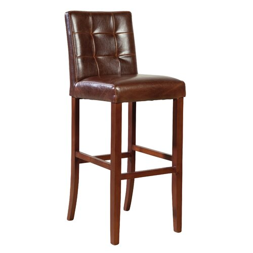 Stitched Back Leather Barstool