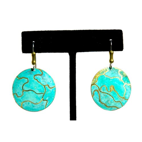 Brass Round Earrings with Surgical Steel Earwires