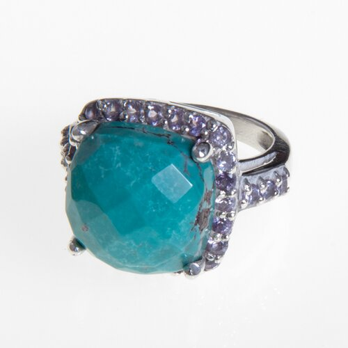Sitara Jewelry Turquoise and Amethyst Sterling Silver Ring