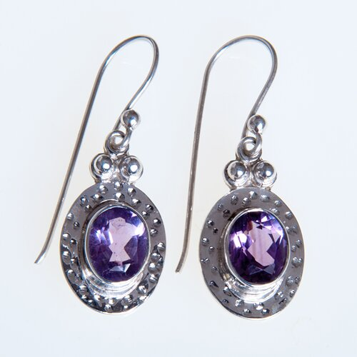 Sterling Silver Amethyst Oval Gemstone Earrings