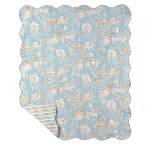 Natural Shells Stripes Quilt Throw