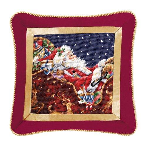C & F Enterprises Santa with Sleigh Needlepoint Pillow