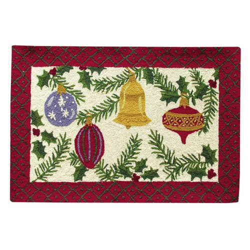 C & F Enterprises Ornaments and Berries Hooked Rug