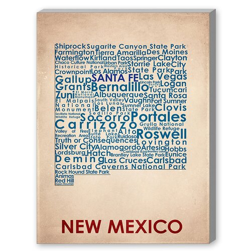 New Mexico Textual Art on Canvas