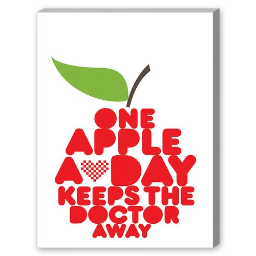 One Apple a Day Textual Art on Canvas