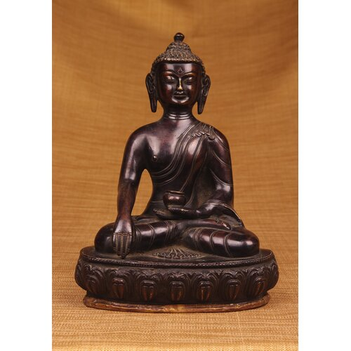 Miami Mumbai Brass Series Buddha Sitting on Throne Figurine