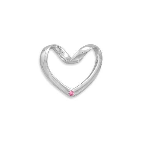 Sterling Silver Puffed Heart Slide With Pink CZ Measures 25x28mmCharm