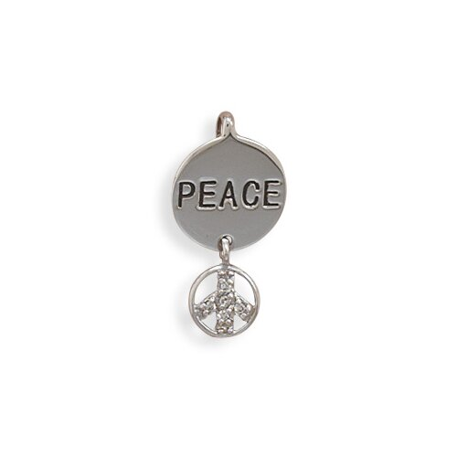 Jewelryweb Rhodium Plated Sterling Silver Round Peace Slide Clear CZ Peace Sign Slide Measures 25mmx12mmCharm