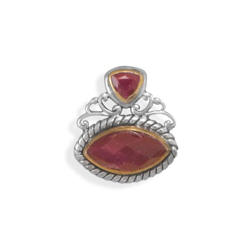 Sterling Silver Two Tone Rough-cut Ruby Slide Charm