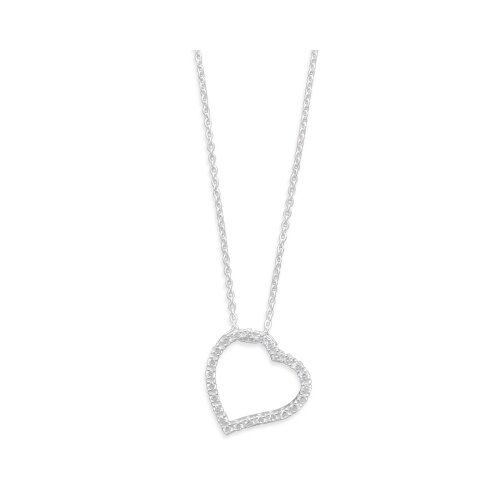 Sterling Silver 16 Inch Chain With Cut Out CZ Heart Necklace