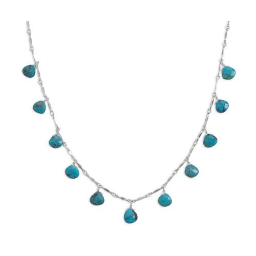 Jewelryweb Sterling Silver 16 InchNecklace With 11 Faceted Turquoise Drops