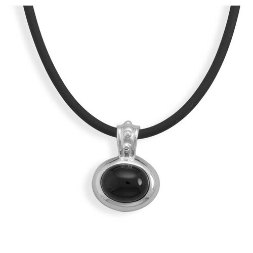 Sterling Silver 16 Inch Black Rubber Necklace With Black Onyx Pendant