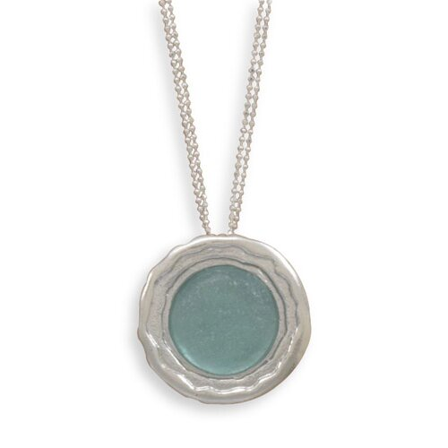 Sterling Silver 16.5 Inch Double Strand Faceted Bead Necklace With Ancient Roman Glass Pendant